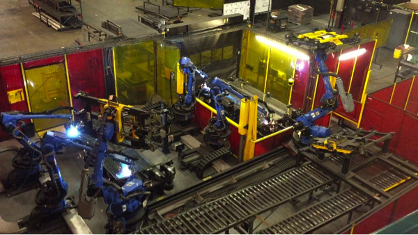 Combining material handling robots with welding robots in an automated process can streamline production.